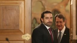F'ile Photo: Ο πρωθυπουργός του Λιβάνου με τον πρόεδρο της Κυπριακής Δημοκρατίας  Νίκος Αναστασιάδη.  Φωτογραφία  'Αρχείο ΚΥΠΕ