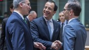 From left to right: Mr Carmelo ABELA, Maltese Minister for Foreign Affairs; Mr Nikos CHRISTODOULIDES, Cyprus Minister for Foreign Affairs; Mr Heiko MAAS, German Federal Minister for Foreign Affairs. Shoot date: 19/03/2018 Copyright: European Union