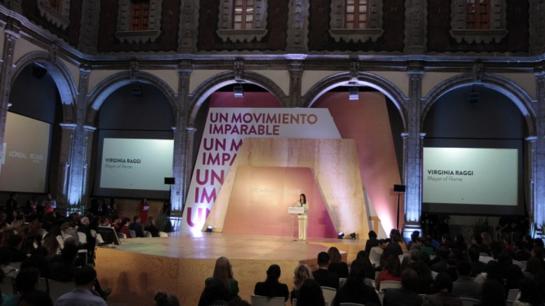 File Photo: Mayor of Rome, Virginia Raggi (C), speaks during the Second Summit of Women for Climate, in Mexico City, Mexico. EPA, MARIO GUZMAN