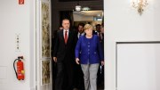 German Chancellor Angela Merkel (R) and Turkish President Recep Tayyip Erdogan (L) in the Hotel Atlantic, in Hamburg, Germany. EPA, JENS SCHLUETER, POOL