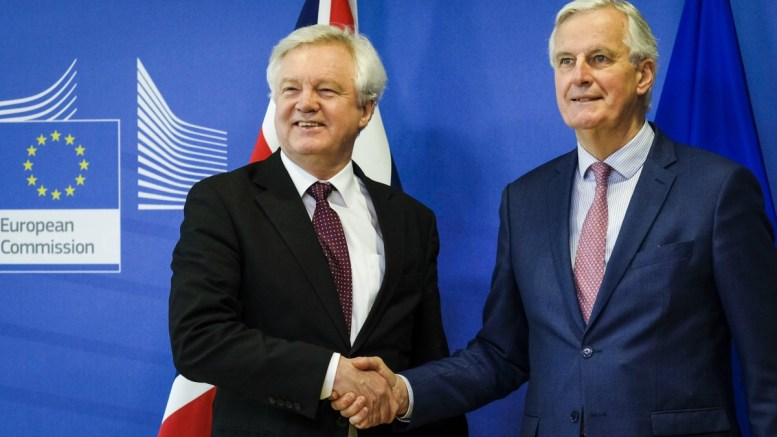 United Kingdom's Secretary of State for Exiting the European Union, David Davis is welcomed by Michel Barnier (R), the European Chief Negotiator of the Task Force for the Preparation and Conduct of the Negotiations with the United Kingdom under Article 50 prior to a meeting in Brussels, Belgium, 19 March 2018. EPA, OLIVIER HOSLET