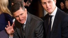 File Photo: Embattled National Security Advisor Michael Flynn (L), sitting next to presidential advisor and son-in-law Jared Kushner (R). EPA, JIM LO SCALZO