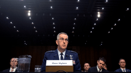 Air Force Gen. John E. Hyten, commander of U.S. Strategic Command, testifies before the Senate Armed Services Committee, Washington, D.C., March 20, 2018. DoD photo by EJ Hersom