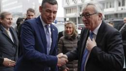 President of the European Commission Jean-Claude Juncker (R) is welcomed by the President of Kosovo's Parliament Kadri Veseli (L) during his visit in Pristina, Kosovo, 28 February 2018. EPA, VALDRIN XHEMAJ