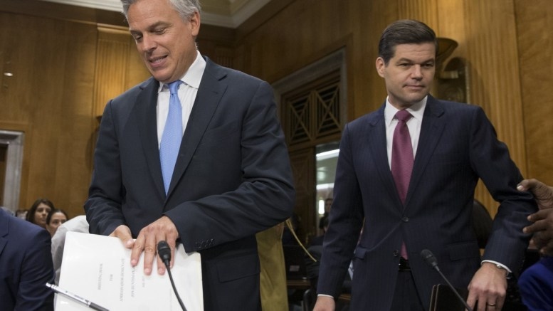 File Photo: Former Republican Governor of Utah Jon Huntsman (L) and A. Wess Mitchell (R) arrive for the Senate Foreign Relations Committee hearing on the nomination of Huntsman to be ambassador to Russia and Mitchell to be an assistant secretary of State for European and Eurasian affairs, on Capitol Hill in Washington, DC, USA. EPA, MICHAEL REYNOLDS