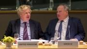 Ο υπουργός Εξωτερικών, Νίκος Κοτζιάς, συνομιλεί με τον Βρετανό υπουργό Εξωτερικών Boris Johnson (A) κατά τη διάρκεια του Συμβουλίου Εξωτερικών Υποθέσεων της Ευρωπαϊκής Ένωσης, που πραγματοποιείται στις Βρυξέλλες, τη Δευτέρα 19 Μαρτίου 2018. ΑΠΕ-ΜΠΕ, EUROPEAN COUNCIL, Tashana BATISTA