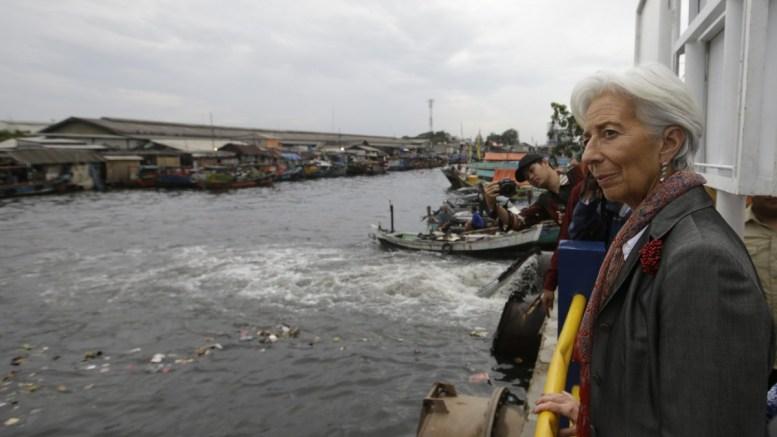 Christine Lagarde visits Cilincing river in Jakarta, Indonesia. Photo via IMF