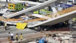 View of the collapsed pedestrian bridge on the Florida International University in Miami, Florida, USA. . EPA, CRISTOBAL HERRERA