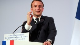File Photo: French President Emmanuel Macron delivers a speech  EPA, LUDOVIC MARIN