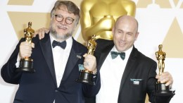 Guillermo del Toro (L), winner of the Best Director Award for 'The Shape of Water' and the Best Picture for 'The Shape of Water' poses with Producer J. Miles Dale (R) in the press room during the 90th annual Academy Awards ceremony at the Dolby Theatre in Hollywood, California, USA, 04 March 2018. EPA, PAUL BUCK
