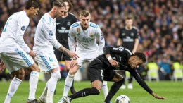 FILE PHOTO.  Paris Saint Germain's Brazilian forward Neymar Da Silva (R) vies for he ball against Raphael Varanne (L), Sergio Ramos (2-L), and Toni Kroos (C) of Real Madrid during their UEFA Champions League round. EPA, RODRIGO JIMENEZ