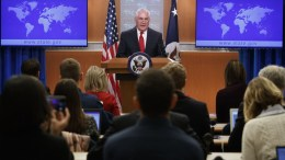 Outgoing US Secretary of State Rex Tillerson delivers farewell remarks in the State Department briefing room in Washington, DC, USA, 13 March 2018. US President Donald J. Trump announced the departure of Secretary Tillerson and the appointment of Mike Pompeo to be his successor. EPA, SHAWN THEW
