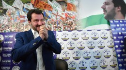 File Photo: Federal Secretary of Italian party 'Lega' (League), Matteo Salvini, gestures during his press conference at the party's headquarter in Milan, Italy, 05 March 2018. EPA, DANIEL DAL ZENNARO
