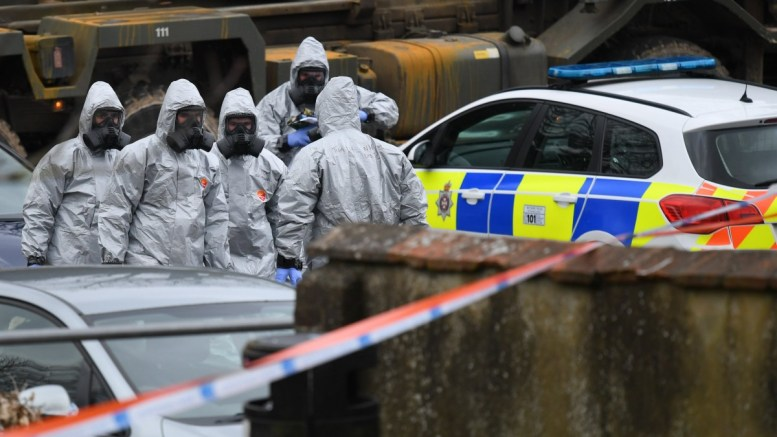 File Photo: Military in protective clothing prior to removing vehicles from a car park in Salisbury, Britain. Russian ex-spy Sergei Skripal and his daughter were attacked with a nerve agent on 04 March 2018.. EPA, NEIL HALL