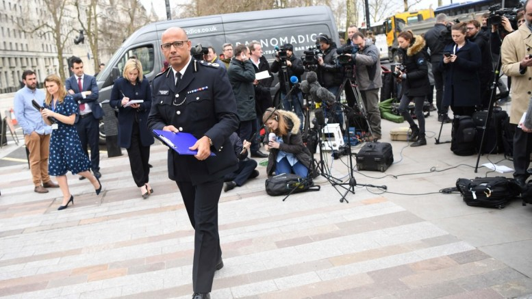 The Metropolitan Police's Assistant Commissioner for Counter Terrorism Neil Basu leaves after delivering a statement about police response to the Salisbury nerve agent attack outside New Scotland Yard in London, Britain, 13 March 2017. EPA, NEIL HALL