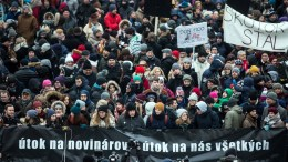 People carrying a banner 'Attack on journalists - attack on all of us' take part in a march honouring the memory of murdered Slovak journalist Jan Kuciak and his fiance Martina Kusnirova in Bratislava, Slovakia, 02 March 2018 EPA, JAKUB GAVLAK