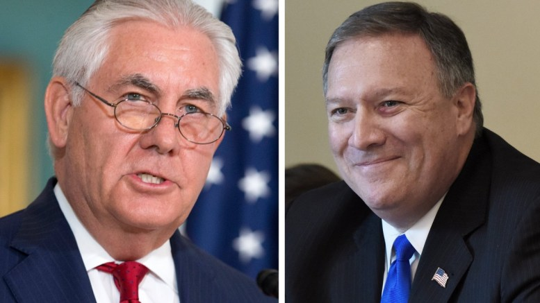 A composite file photo showing US Secretary of State Rex Tillerson (L), and Central Intelligence Agency, CIA, Director Mike Pompeo (R). US media reports on 13 March 2018 state US President Donald Trump has replaced Tillerson with Pompeo. Reports further state the president is planning to replace Pompeo with Deputy Director of the CIA Gina Haspel. EPA, MICHAEL REYNOLDS , OLIVIER DOULIERY, POOL