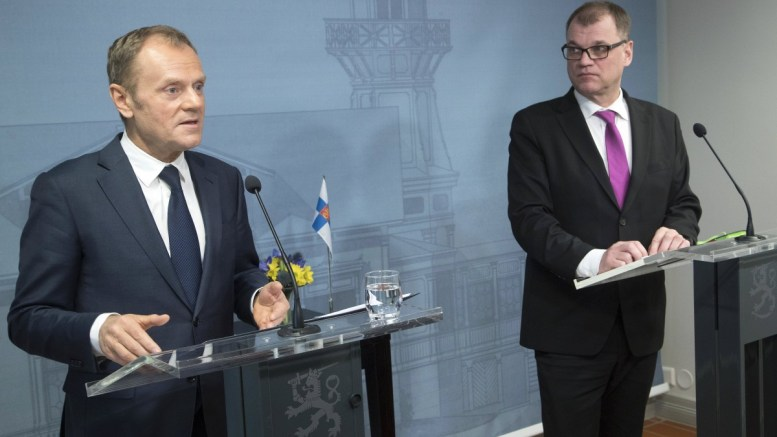 Finland Prime Minister Juha Sipila (R) meets the President of European Council Donald Tusk (L) at the Prime Minister House Kesaranta in Helsinki, Finland, 14 March 2018. EPA, MAURI RATILAINEN