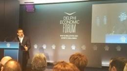 Ο πρωθυπουργός κατά την ομιλία του στο Οικονομικό Φόρουμ Δελφών - Πηγή: MIgnatiou.com