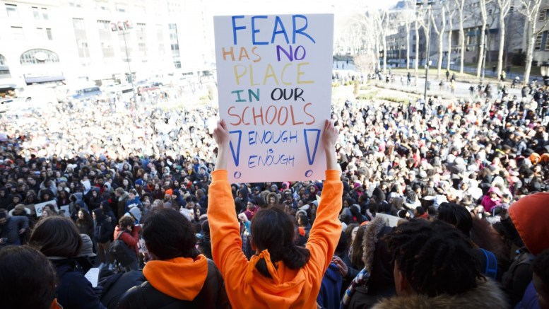 File Photo: Students from area schools participate in the 'ENOUGH National School Walkout' and gather for a student organized rally at Brooklyn Borough Hall to protest gun violence.  EPA, JUSTIN LANE