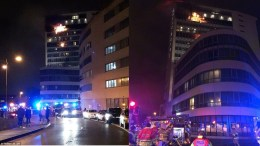 Το φλεγόμενο ξενοδοχείο κοντά στο αεροδρόμιο του Δουβλίνου Πηγή: via Twitter