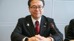 Japan's Economy Minister Hiroshige Seko attends a meeting with European Commissioner for Trade Cecilia Malmstrom and US trade representative Robert Lighthizer at the European Commission headquarters in Brussels, 10 March 2018. European Commissioner Malmstrom, US trade representative Lighthizer and Japan's Minister Seko were meeting for talks after US President Donald J. Trump had signed a declaration to impose tariffs of 25 percent on steel and 10 percent on aluminum. EPA, STEPHANIE LECOCQ, POOL