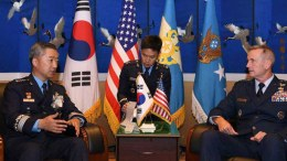 File Photo: Gen. Lee Wang-keun, Chief of Staff of the Republic of Korea Airforce, speaking with Gen. Terrence O'Shaughnessy, commander of the US Pacific Air Forces, during their meeting in Seoul, South Korea. EPA, REPUBLIC OF KOREA AIR FORCE