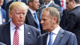 FILE PHOTO: US President Donald J. Trump (L) and EU Council President Donald Tusk (R) speak to each other at a walk after posing for a group photocall on the first day of the G7 Summit, in Taormina, Italy, 26 May 2017. Heads of States and of Governments of the G7, the group of most industrialized economies, plus the European Union, meet in Taormina, Italy, from 26 to 27 May 2017 for a summit titlked 'Building the Foundations of Renewed Trust' which is aimed at discussing 'citizen safety, economic, environmental and social sustainability and the reduction of inequalities' as well as 'innovation, skills and labor in the age of the Next Production Revolution', the Italian G7 Presidency said in a media release. EPA,CIRO FUSCO