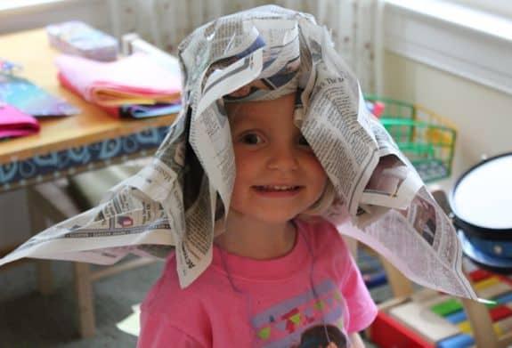 diy newspaper derby hat for kids