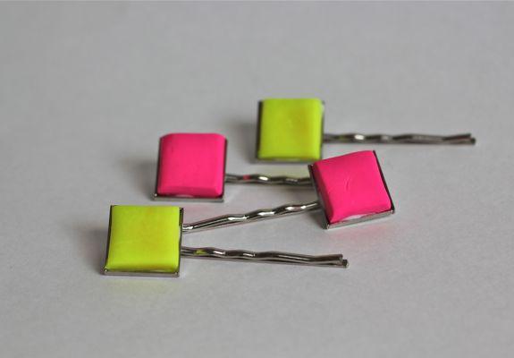 neon hair pins
