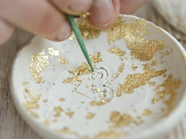 DIY Bowl with Clay and Gold Leaf