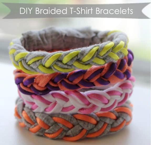 diy braided tshirt bracelets