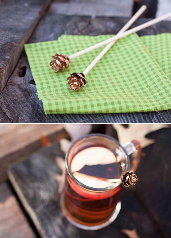 DIY Gold Leaf Pine Cone Drink Stirrers | Hello Glow