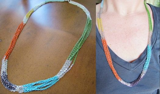 painted chain necklace