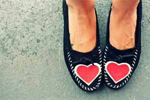moccasins with heart