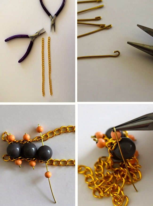 How to Make DIY Bead + Chain Bracelet