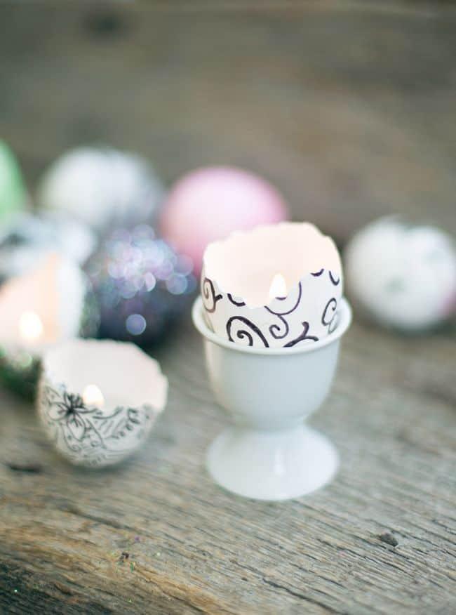 DIY Eggshell Candles | HelloNatural.co