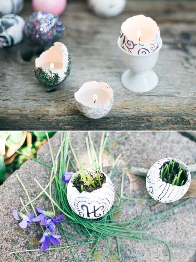 Eggshell garden + candles | HelloNatural.co