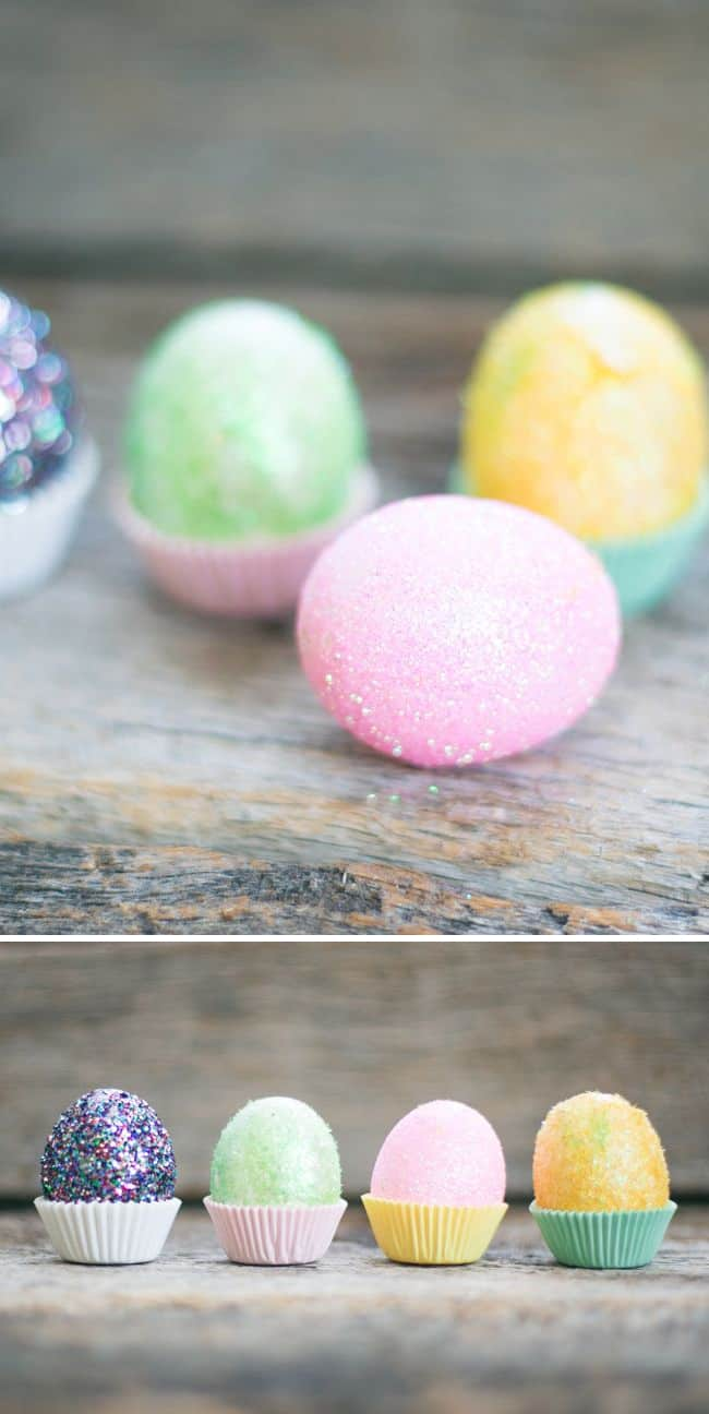 DIY Fuzzy Glitter Easter Eggs | HelloNatural.co