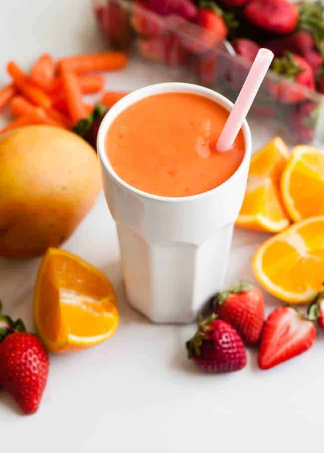 Coconut Water Smoothie with Mango and Strawberry | HelloNatural.co