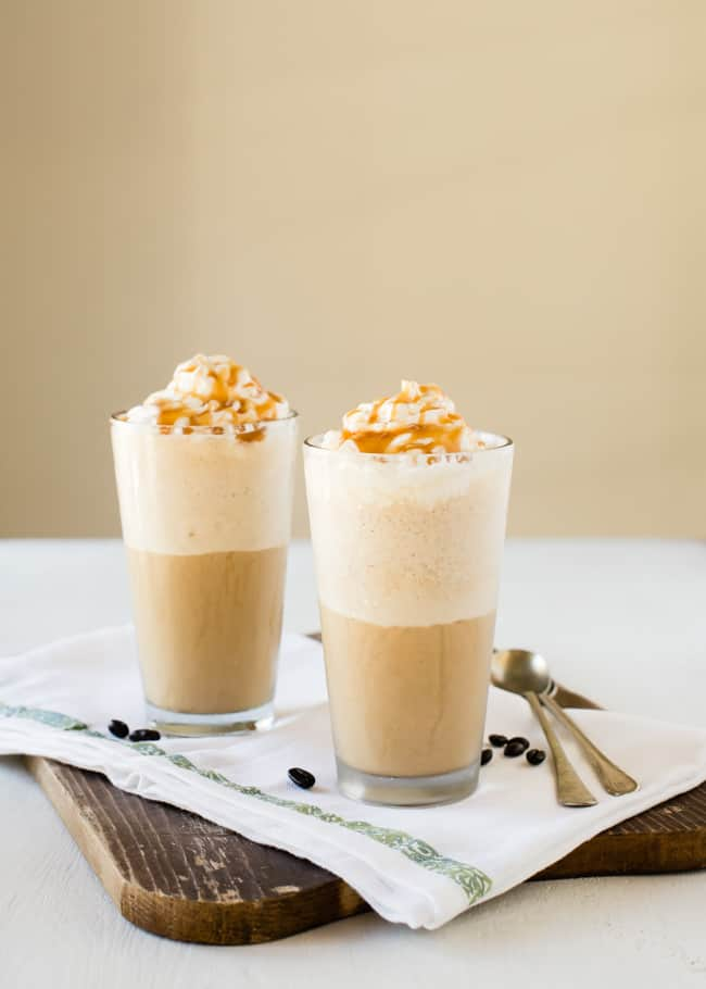 DIY Caramel Iced Coffee Frappe | HelloNatural.co