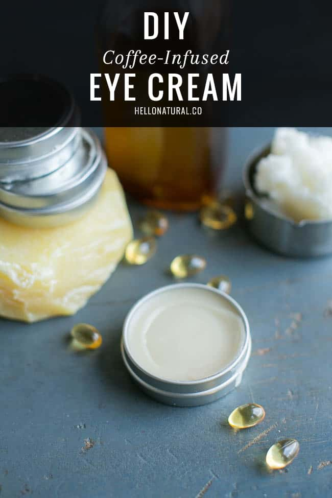 How to make DIY Coffee Eye Cream: Now we are ready to start the Coffee Infused Tightening Eye Cream. Using the double broiler method again add beeswax to a large glass measuring bowl. Simmer over low heat until beeswax is melted. Next, add jojoba oil, coconut oil, vitamin E oil, and coffee infused oil individually to the measuring bowl.