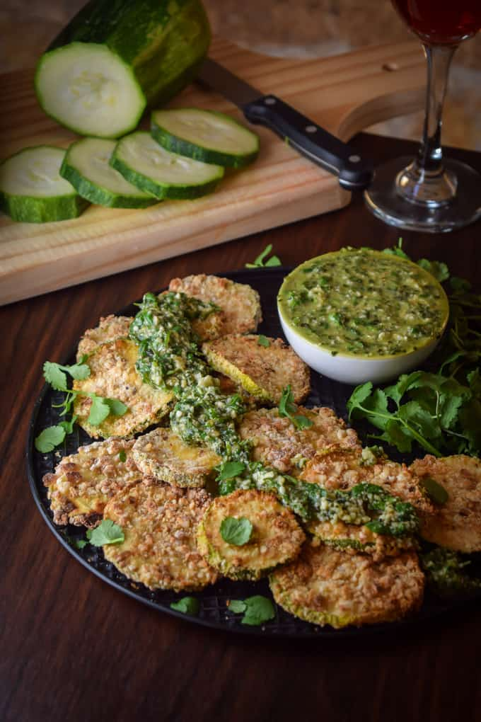 Crispy baked zucchini wedges with basil chimichurri by Gringalicious