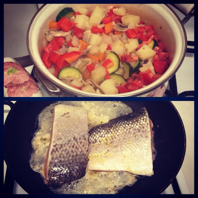 Healthy Vegetable Stew & Pan Fried Salmon