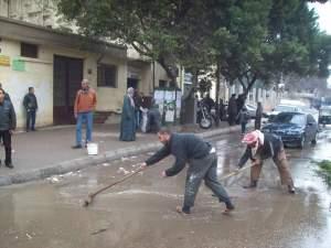 إزالة مياه الأمطار بشوارع حلوان