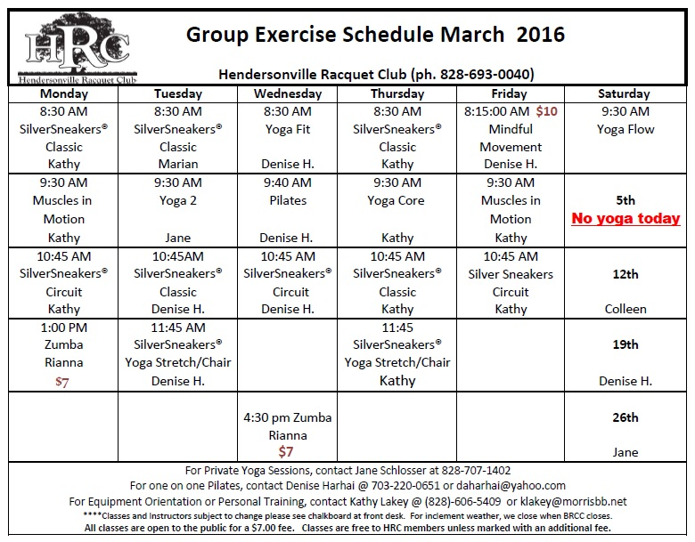 Group Fitness Classes Start at HRC