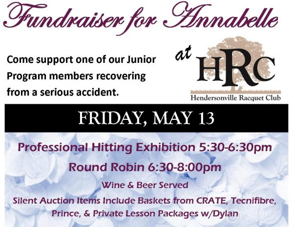 Fundraiser For Annabelle Webb This Friday At Hendersonville Racquet Club Includes Pro Exhibition, Silent Auction And More