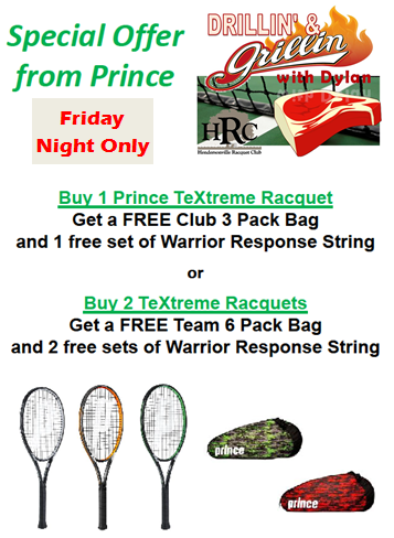 Free Tennis Clinic and Prince Demo Night 8/19