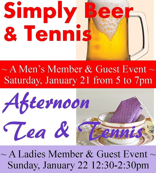 Tennis Member-Guest Socials Announced for January 21st & 22nd