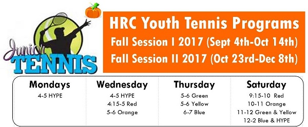YOUTH TENNIS CLASSES START SEPTEMBER 6TH FOR AGES 4-17